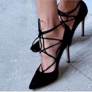Aldo Fredola Ankle Tie Wrap Black Velvet Heels